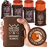 World's Toughest Emergency Blankets [4-Pack] Extra-Thick Thermal Mylar Foil Space Blanket | Waterproof Ultralight Outdoor Sur