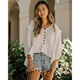 The Drop Women's Ivory Loose Fit Asymmetric Hem Balloon Sleeve Top By @spreadfashion
