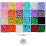 BALABEAD Size Uniform 12/0 Glass Seed Beads with Beading Needles and String About 24000pcs in Case Seed Beads 2mm Craft Seed
