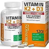 Bronson Vitamin K2 (MK7) with D3 Extra Strength Supplement Bone and Heart Health Non-GMO Formula 10,000 IU Vitamin D3 & 120 m