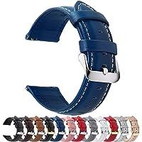 時計バンド ベルト、Fullmosa 全12色スマートウォッチバンド ベルト 腕時計バンド 交換ベルト本革 レザー14mm ダークブルー+シルバーバックル