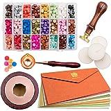 Waycreat Wax Seal Kit, 744Pcs Octagon Sealing Wax Beads with Melting Furnace, Tree of Life Stamp, 10 Pcs High-Grade Vintage E