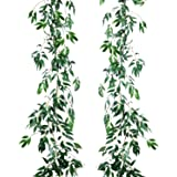 Artiflr 2 Pack Artificial Hanging Leaves Vines, 5.7 Ft Fake Willow Leaves Twigs Silk Plant Leaves Garland String in Green Ind