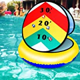 LONYKIBEE Pool Game Inflatable Pool Ring Toss Games 24'' Pool Toys with 6 Ball Pool Toss Game for Kids Teens Adults Floating