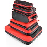 AIZBO 7 Set Waterproof Packing Cubes Travel Luggage Organisers Suitcase Storage Bags-2 Clothing Pouches + 2 Premium Bra Under