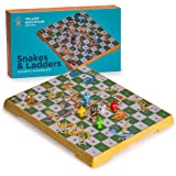 Yellow Mountain Imports Magnetic Snakes and Ladders Board Game Set - 9.6 Inches ?- Portable, Folding & Travel Perfect