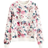 Romwe Women's Casual Floral Print Long Sleeve Pullover Tops
