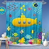 Riyidecor Marine Underwater Kids Shower Curtain Weighted Hem Yellow Submarine Colorful Fish Coral Deep Ocean Decor Fabric Pan