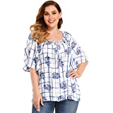 TBEZY Womens Plus Size Tops Ruffle Elbow Sleeve Flowy Pleated Scoop Neck Loose Casual Blouses