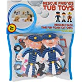 Rescue Friends Foam Bath Toys That Stick to Tub & Tile - Features Police, Doctors and Firefighters - 21 Pieces & Storage Bag