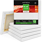 "ARTEZA 6""X6"" Stretched White Blank Canvas, Bulk (Pack of 12), Primed Cotton, for Painting, Acrylic Pouring, Oil Paint & Wet A"