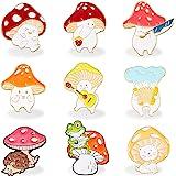 9 Pieces Mushroom Enamel Pin Brooches Mushroom Brooches Cute Cartoon Mushroom Alloy Brooch Guitar Cat Frog Hedgehog Animal Pl