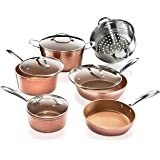 GOTHAM STEEL 2304 Hammered Collection – 10 Piece Premium Cookware Set with Triple Coated Nonstick Copper Surface, Oven, Stove