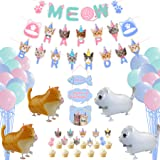Cat Party Decorations, HAPPY BIRTHDAY and MEOW Cat Face Banner, 30 Pcs Macaron Balloon Banners, 10 Pcs Cake Topper, 4 Pcs Wal