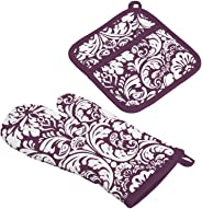 DII Cotton Damask Oven Mitt 12 x 6.5 and Pot Holder 8.5 x 8 Kitchen Gift Set, Machine Washable and Heat Resistant for Cookin
