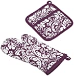 "DII Cotton Damask Oven Mitt 12 x 6.5"" and Pot Holder 8.5 x 8"" Kitchen Gift Set, Machine Washable and Heat Resistant for..."