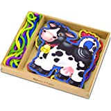 """Melissa & Doug 3781 Lace and Trace Activity Set: 5 Wooden Panels and 5 Matching Laces - Farm, 1.25"""" x 7"""" x 8.25"""""""