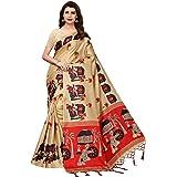 CRAFTSTRIBE Ethnic Printed Indian Saree Party Wear Wedding Bollywood Art Silk Bridal Sari