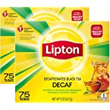 Lipton Tea Bags For a Delicious Beverage Decaffeinated Black Tea Caffeine-Free and Made With Real Tea Leaves 75 Tea Bags, 2 c