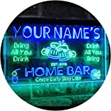 Personalized Your Name Custom Home Bar Beer Established Year Dual Color LED Neon Sign Green & Blue 400 x 300 mm st6s43-p1-tm-