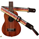 MUSIC FIRST Hawaii Woven Rainbow Adjustable 100% Cotton & Genuine Leather Ukulele Strap Shoulder Strap version 2.0 With a MUS