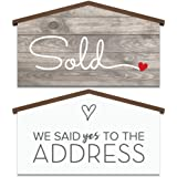 Real Estate House Shaped Sold Sign - We Said Yes to the Address - Agent Supplies and Signs- Photo Prop for Realtor - New Home