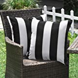 WESTERN HOME WH Outdoor Pillow Covers 18x18 Waterproof, Stripe Square Pillowcases Patio Throw Pillow Covers Cushions for Couc