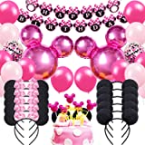 Danirora Minnie Mouse Birthday Party Supplies, Minnie Mouse Party Decorations for Girls Birthday Decor Pink Balloon Banner an