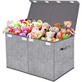 Toy Box Chest Organizer with Flip-Top Lid,Collapsible Kids Storage for Nursery,Playroom,Closet Home Organization,Herringbone