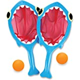 Melissa & Doug 6658 Sunny Patch Spark Shark Toss and Catch Net Pool Game With 2 Balls,Blue