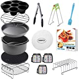 CAXXA 8 PCS 8 Inch XL Air Fryer Accessories, Deep Fryer Accessories with Free Recipe Cookbook and Liner for Growise,Phillips,