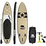 Atoll 11' Foot Inflatable Stand Up Paddle Board (6 Inches Thick, 32 inches Wide) ISUP, Bravo Hand Pump and 3 Piece Paddle, Tr