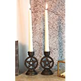 Ebros Set of 2 Wicca Celestial Pentagram Pentacle Stars Encased in Circle of Life Symbol Taper Candle Or Cone Incense Holders