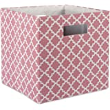 """DII Hard Sided Collapsible Fabric Storage Container for Nursery, Offices, & Home Organization, (13x13x13"""") - Lattice Rose"""