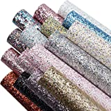 16 Colors 8x6 Inch Faux Leather Chunky Glitter Fabric Sheets Canvas Back for Bows Earrings Ornaments Making, Each Color Half