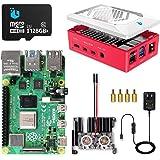 Raspberrypi 4 mode B 8GB RAM (技適マーク入) MicroSDHCカード128G Raspbianインストール済 5.1V/3A電源 Microケーブル ファン*2 カードリーダー 赤いケース