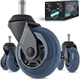 STEALTHO Replacement Office Chair Caster Wheels Set of 5 - Protect Your Floor - Quick & Quiet Rolling Over The Cables - No Mo