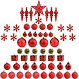 Sunnyglade 60ct Red Christmas Tree Ball Ornaments Set Shatterproof Christmas Bling-Bling Hanging Decoration with Hand-held Gi