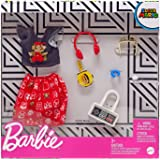 Barbie Storytelling Fashion Pack of Doll Clothes Inspired by Super Mario: Graphic Top, Print Skirt & 6 Video Game-Themed Acce