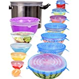 [14pcs] longzon Silicone Stretch Lids (Include 2 Exclusive XXL Size up to 12''), Reusable Durable Food Storage Covers for Bow