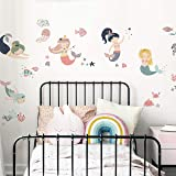 RoomMates Sweet Pastel Mermaids Peel and Stick Wall Decals | Girls Room Decor