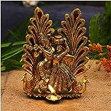 NOBILITY Metal Gold Plated Radha Krishna Idol Statue with Diya Peacock Design Hindu Religious Radha Krishan Showpiece Figurin