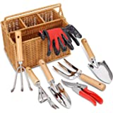 SOLIGT 8 Piece Garden Tool Set with Basket, Stainless Steel Heavy Duty Garden Hand Tools Kit with Wood Handle for Men Women