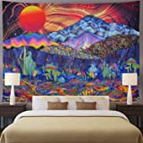 Ameyahud Trippy Mountain Tapestry Psychedelic Sun Tapestry Colorful Mushroom Tapestry Hippie Waves Abstract Tapestry Wall Han