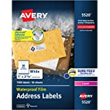 "Avery Waterproof Address Labels with Sure Feed & TrueBlock 1"" x 2-5/8"", 1,500 White Labels (5520)"