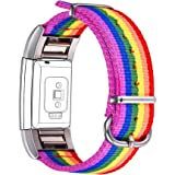 Bandmax Compatible Fitbit Charge 2 Bands Rainbow LGBT, Nylon Fitbit 2 Watch Bands Comfortable Sport Straps Accessories Mix Ad
