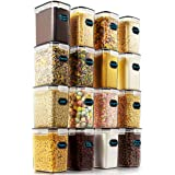 Airtight Food Storage Containers - Wildone Cereal & Dry Food Storage Container Set of 16 [54oz /1.6L] for Sugar, Flour and Ba