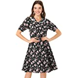 Allegra K Women's Peter Pan Collar A-line Flowy Midi Chiffon Floral Dress