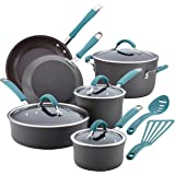 Rachael Ray 87641 Cucina Hard-Anodized Aluminum Nonstick Pots and Pans Cookware Set, 12-Piece, Gray, Agave Blue Handles
