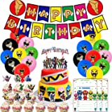 Nelton Birthday Party Supplies For Power Ranger Includes Banner - Cake Topper - 24 Cupcake Toppers - 18 Balloons - 15 Invitat